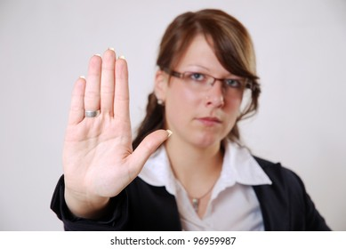 business woman with stopping hand