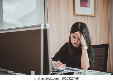 Business woman stress from boss,Secretary has a hard work,Thailand people