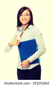 Business woman or student portrait smiling