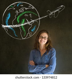 Business woman, student or teacher with chalk globe and jet world travel blackboard background