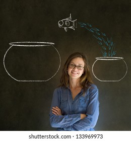 Business woman, student or teacher with fish jumping from small bowl to big bowl on blackboard background
