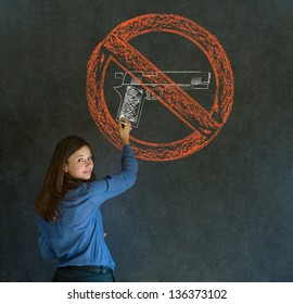 Business woman, student, teacher or politician no guns pacifist thought thinking chalk cloud on blackboard background