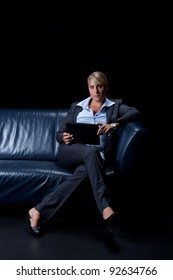 business woman with a table pc