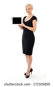 Business woman with tablet, isolated on white