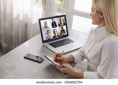 business woman talking to her colleagues about plan in video conference. business team using laptop for a online meeting in video call. Group of people smart working from home