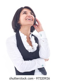business woman talking on the phone on white background