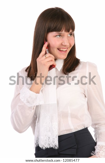 business woman talks on mobile telephone