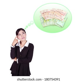 Business woman thinking about money isolated on white background