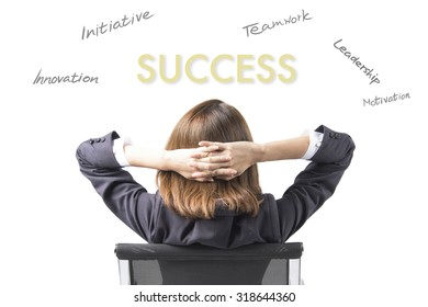 Business Woman Thinking About Success and Achievement