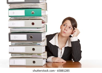 business woman thinks about solving problem with folder stack. Isolated on white background.