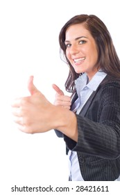 Business woman thumbs up isolated on white