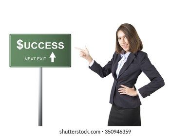 business woman thumbs up isolated on white background.success