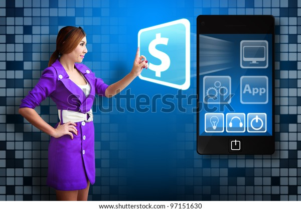 Business woman touch the Money icon from mobile phone