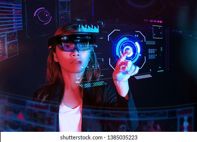 Business woman try vr glasses hololens in the lab room. Future technology concept