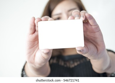 Business woman use smart card, credit card with white background.