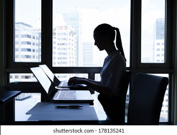 Business woman using computer in the office.