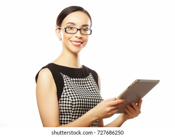 Business woman using digital tablet computer PC happy isolated