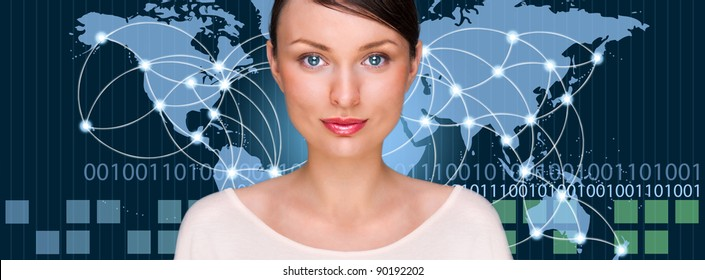 A business woman is using the internet. A map of the Earth with glowing points of locations and lines of connections and technology images in the background.