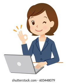 business woman using laptop computer