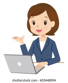 business woman using laptop computer