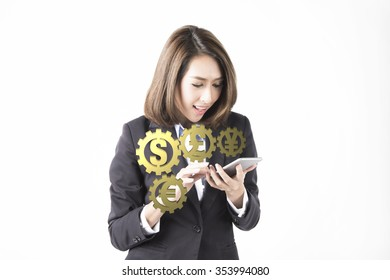 business Woman using a mobile phone isolated on a white background.info-graphic money symbols