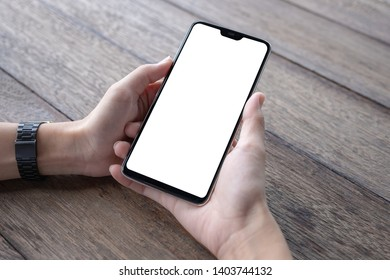 Business woman using smartphone in caffee shop. smart phone or mobile with blank screen and can be add your texts or others, tecnology concept.