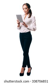 Business woman using a touch pad