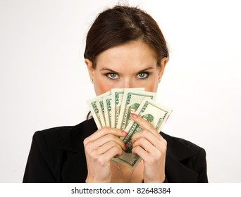Business Woman with a wad of Cash Green Dollar Bills American Currency