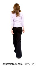 Business Woman Walking away from the camera - isolated over a white background