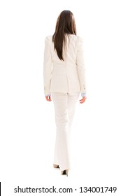 Business woman walking away - isolated over a white background