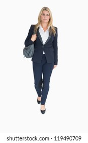 Business woman walking holding a handbag on the white background