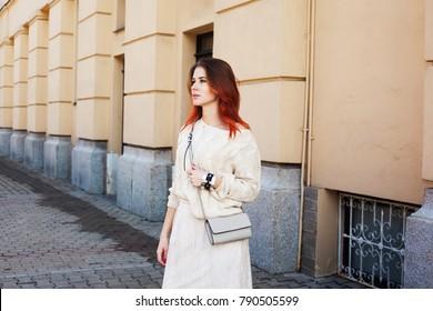 Business woman walking on the street