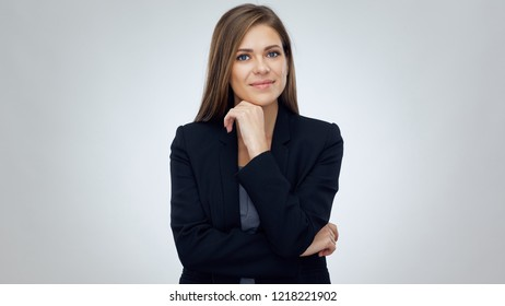 Business woman wearing black suit. Smiling girl isolated portrait.