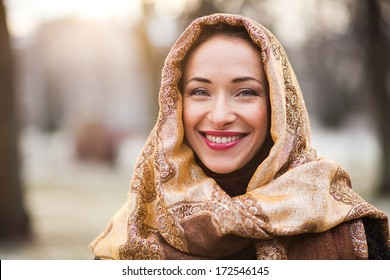 Business woman wearing headscarf