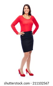Business woman wearing red portrait isolated on white background