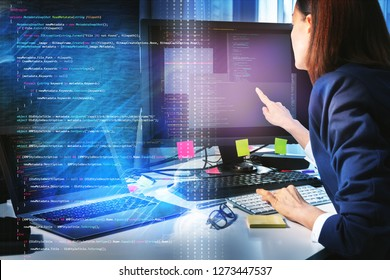 Business woman working with computer in the office