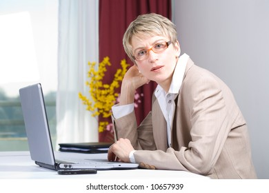 a business woman working in the office