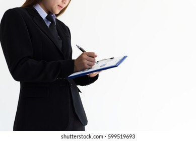 Business woman working on white background.