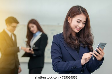 Business woman working with  Smartphone