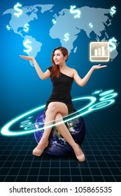Business woman and world map : Elements of this image furnished by NASA