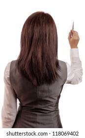 Business woman writes a pen with his back to the camera