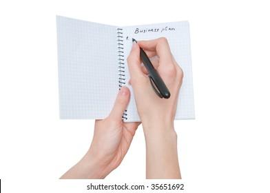 business woman writes business  plan