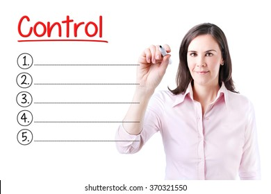 Business woman writing blank Control list. Isolated on white.