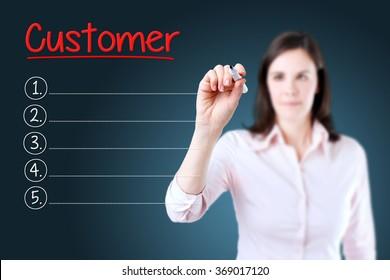 Business woman writing blank Customer list. Blue background.