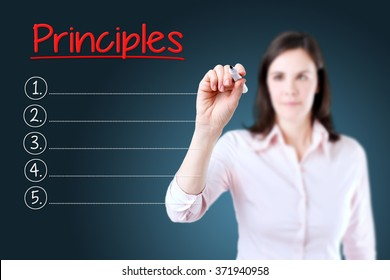 Business woman writing blank Principles list. Blue background.
