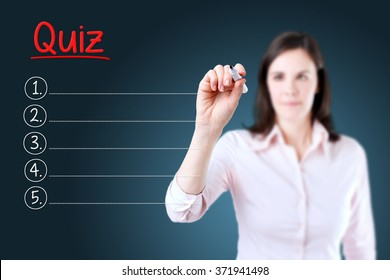 Business woman writing blank Quiz list. Blue background.