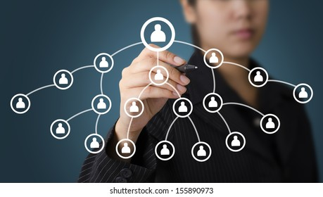 Business Woman Writing Human Organization Concept