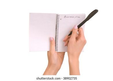 business woman writing business plan