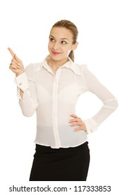 Business women giving a thumbs Up
