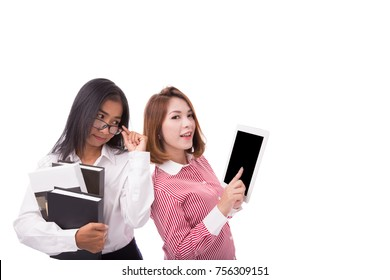 Business women holding tablet and book Isolated on white background with copy space, Concept of internet technology for education